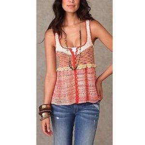 Free People Rare Babydoll Crochet Sequin Tank